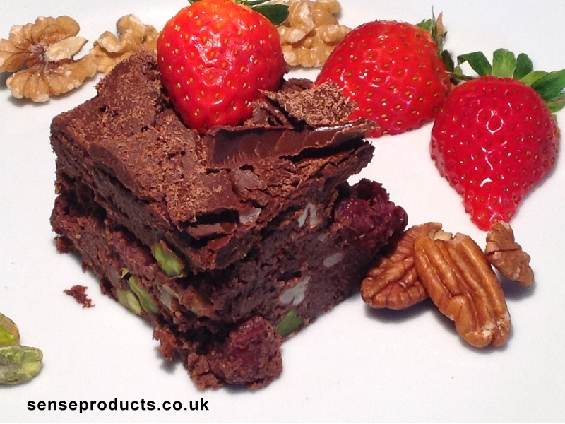 healthy chocolate brownie cake flourless pistachios walnuts and pecans