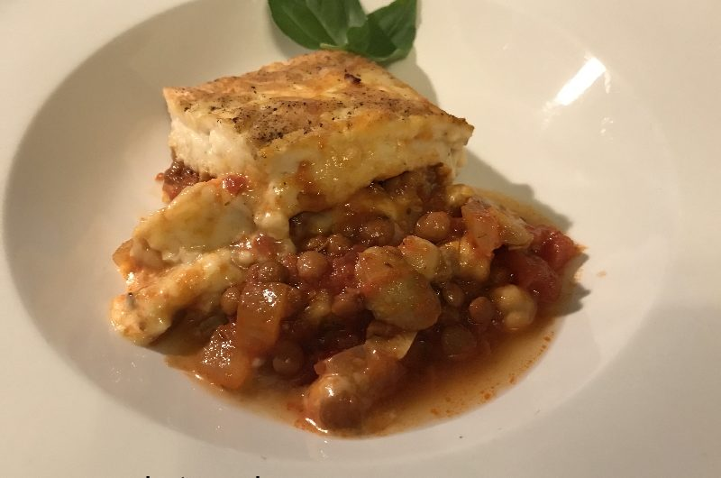 chickpea & red lentil lasagna with chickpea pasta